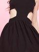 Cutout Sleeveless High Low Plain Sexy Midi Dress