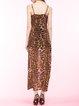 Leopard-print Slit Spaghetti Sexy Midi Dress