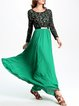 Green Crew Neck Swing Paneled Long Sleeve Maxi Dress