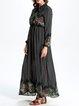 Green Chiffon Floral-print Swing Maxi Dress