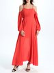 Red Cutout Cold Shoulder Sexy Chiffon Maxi Dress