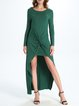 Green Gathered Solid High Low Long Sleeve Maxi Dress