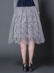 Gray Guipure Lace Mesh A-line Girly Midi Skirt