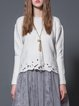 White Casual Knitted Pierced Solid Sweater