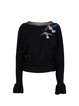 Black Knitted Animal Sequins Embroidery Batwing Long Sleeved Top