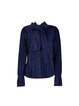 Navy Blue Pleated Bow H-line Casual Blouse