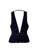 Navy Blue V Neck Sleeveless Pleated Tanks