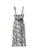 Light Blue Floral Print Pleated Spaghetti Midi Dress
