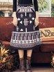 Black Vintage Printed A-line Midi Skirt