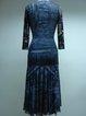 Beaded Floral Sheath Vintage 3/4 Sleeve Midi Dress