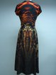 Brown Beaded Printed Elegant Plunging Neck Midi Dress
