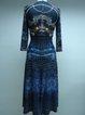 Vintage Printed Beaded Sheath 3/4 Sleeve Midi Dress