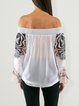 White Zebra-print Off Shoulder Long Sleeve Blouse