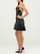 Black Elegant Beaded Flounce Crew Neck Lace Mini Dress