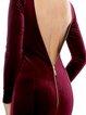 Burgundy Zipper Backless Sexy Mermaid Velvet Evening Dress