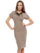 Coffee Elegant Floral Embroidered Sheath Midi Dress