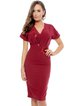 Burgundy Floral Embroidered Short Sleeve Sheath Midi Dress