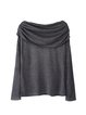 Gray Cowl Neck Asymmetric Statement Long Sleeved Top