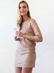 Pink Backless Sequins 3/4 Sleeve Sparkling Mini Dress