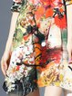 Multicolor Crew Neck Vintage Asymmetrical Floral-print Midi Dress