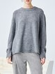 Gray Solid Crew Neck Shift Long Sleeve Sweater