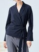 Navy Blue Woven Casual Stripes Surplice Neck Blouse