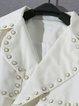 White Beaded Lapel Long Sleeve Cropped Jacket