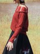 Red Bateau/boat Neck Long Sleeve H-line Sweater