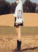 Black Vintage Polyester Embroidered Tribal Mini Skirt