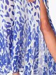 Blue Leaves Printed Slit Sleeveless Maxi Dress