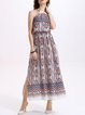 Sleeveless Boho Halter Maxi Dress