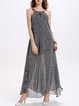 Gray Halter Backless Plain Boho Maxi Dress