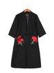Floral H-line Vintage Long Sleeve Paneled Coat