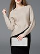 Asymmetrical  Long Sleeve Plain Slash Neck Sweater