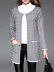 Pockets Casual Checkered/Plaid Crew Neck Cardigan