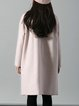 Pink Simple Solid Buttoned H-line Coat