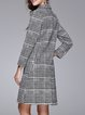 Long Sleeve Lapel Houndstooth Cotton-blend Casual Coat