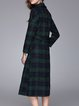 Dark Green Checkered/Plaid Lapel Printed Long Sleeve Coat