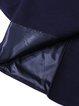 Navy Blue A-line Lapel Solid Long Sleeve Coat