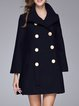 Navy Blue A-line Lapel Solid Long Sleeve Coat