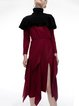 Ruffled Turtleneck Asymmetrical Wool Blend Midi Dress