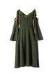 Army Green Cold Shoulder Bow-tied Vintage Midi Dress