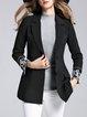 Black Beaded Long Sleeve A-line Elegant Blazer