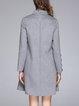 Flowers Appliqued Wool Blend Elegant Stand Collar A-line Midi Dress