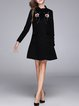 Flowers Appliqued Wool Blend Elegant Stand Collar A-line Midi Dress
