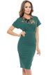 Green Floral Embroidered Short Sleeve Sheath Midi Dress