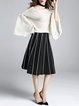 White Basic Bateau/boat Neck Bell Sleeve Sweater