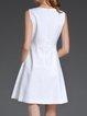 Buttoned Sleeveless A-line Cotton Crew Neck Mini Dress
