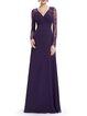 Paneled Elegant V Neck Long Sleeve Evening Dress