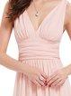 Ruched Sleeveless Swing V Neck Evening Dress